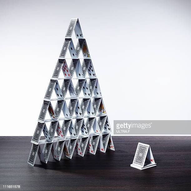 Big card tower and small card tower