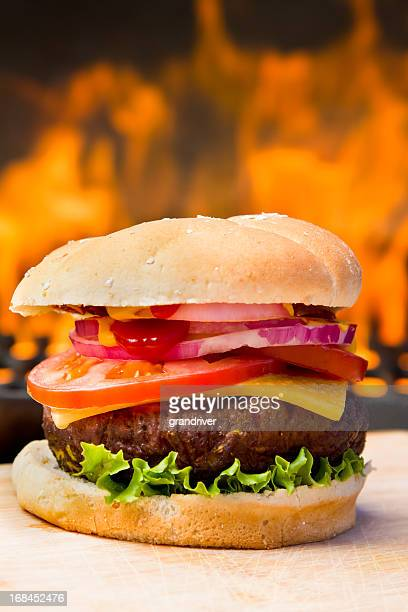 Big Cheeseburger with Pretty Flames