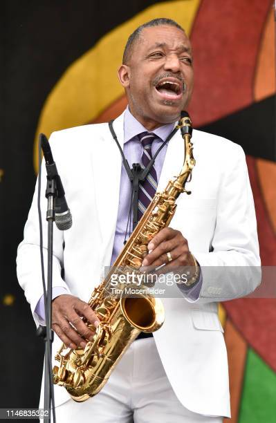 Big Chief Donald Harrison Jr. Performs during the 2019 New Orleans Jazz & Heritage Festival 50th Anniversary at Fair Grounds Race Course on May 03,...