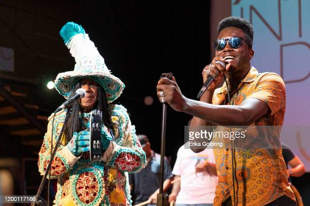 """Big Chief Monk Boudreaux of the Golden Eagles Mardi Gras Indians and Erik """"Cimafunk"""" Rodriguez perform at Fabrica de Arte Cubano on January 16, 2020..."""