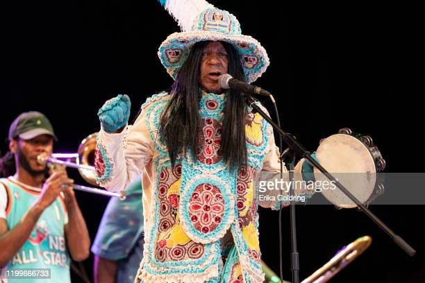 Big Chief Monk Boudreaux of the Golden Eagles Mardi Gras Indians performs at Teatro Nacional on January 14, 2020 in Havana, Cuba.
