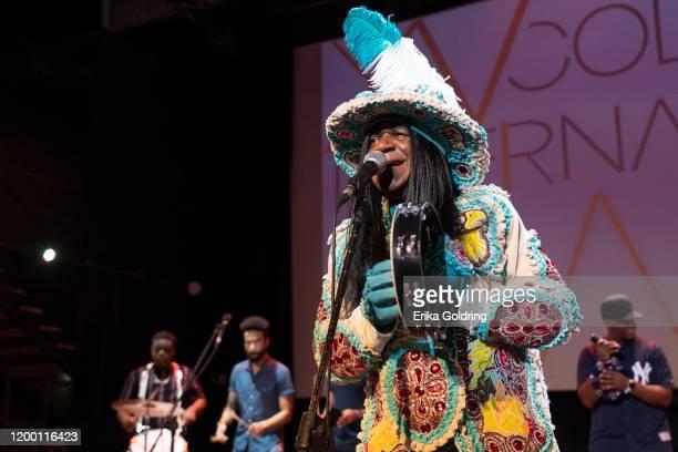 Big Chief Monk Boudreaux of the Golden Eagles Mardi Gras Indians performs at Fabrica de Arte Cubano on January 16, 2020 in Havana, Cuba.