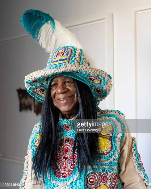 Big Chief Monk Boudreaux of the Golden Eagles Mardi Gras Indians poses for a photo at Fabrica de Arte Cubano on January 16, 2020 in Havana, Cuba.