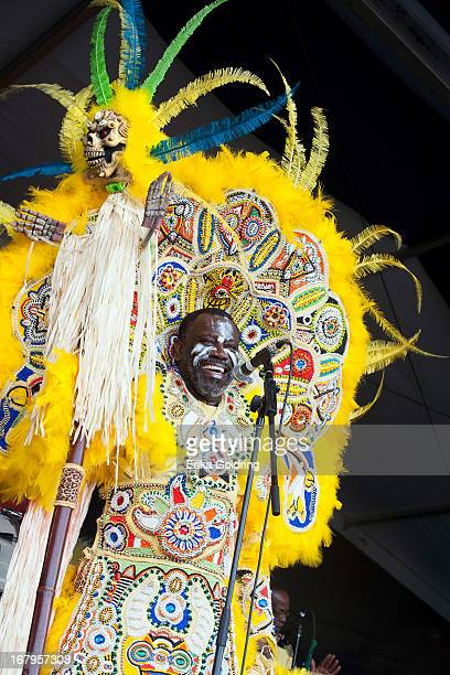 Big Chief Victor Harris of Fi Yi Yi Mandingo Warriors performs during the 2013 New Orleans Jazz Heritage Music Festival at Fair Grounds Race Course...
