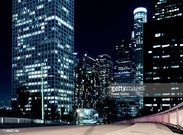 big city lights in the business district