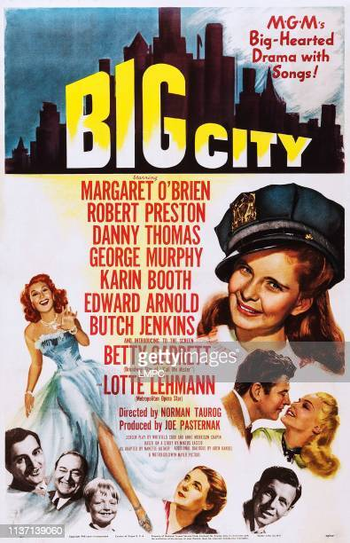 Big City, poster, l-r: Betty Garrett, Danny Thomas, Edward Arnold, Butch Jenkins, Lotte Lehmann, George Murphy, Robert Preston, Karin Booth, Margaret...
