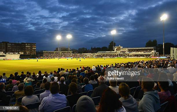 A big crowd enjoys the Friends Life T20 match between Sussex Sharks and Kent Spitfires at BrightonandHoveJobscom County Ground on July 31 2013 in...