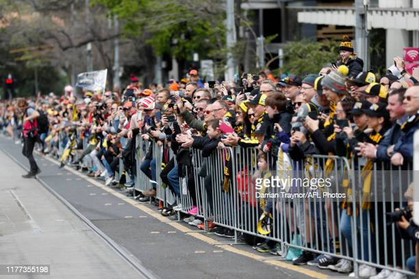 A big crowd looks on during the 2019 AFL Grand Final Parade on September 27 2019 in Melbourne Australia