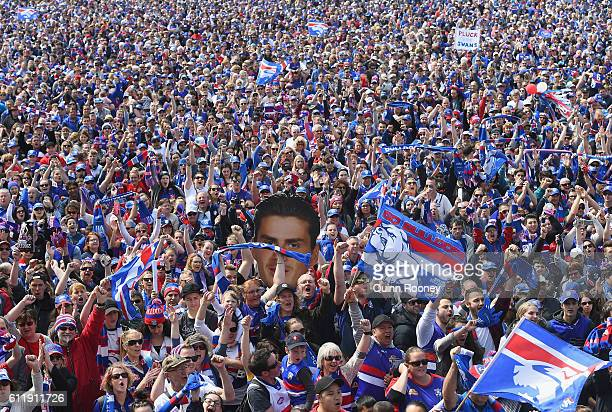 A big crowd turns out during the Western Bulldogs AFL Grand Final celebrations at Whitten Oval on October 2 2016 in Melbourne Australia The Western...