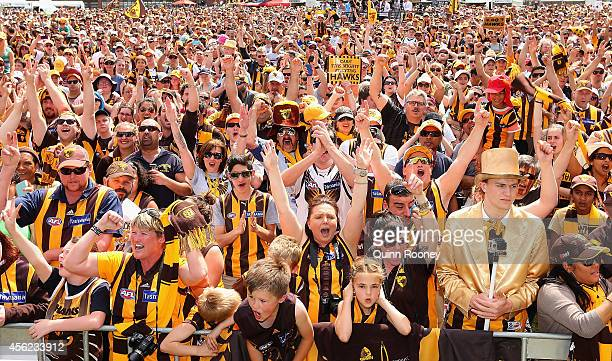 A big crowd turns up at the Hawthorn Hawks AFL team celebration at Glenferrie Oval on September 28 2014 in Melbourne Australia The Hawks beat the...