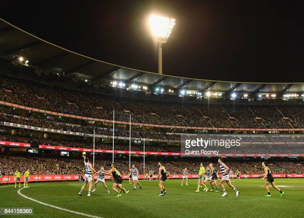 A big crowd watches on during the AFL Second Qualifying Final Match between the Geelong Cats and the Richmond Tigers at Melbourne Cricket Ground on...