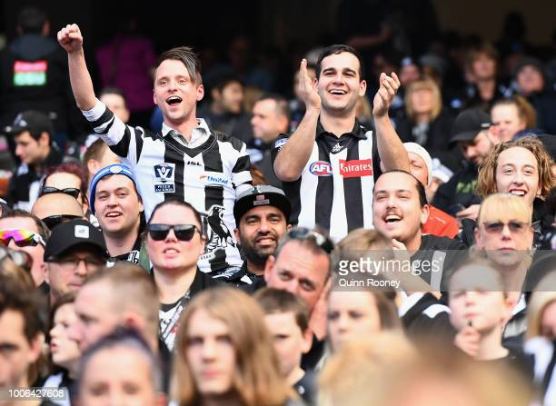 A big crowd watches on during the round 19 AFL match between the Richmond Tigers and the Collingwood Magpies at Melbourne Cricket Ground on July 28...