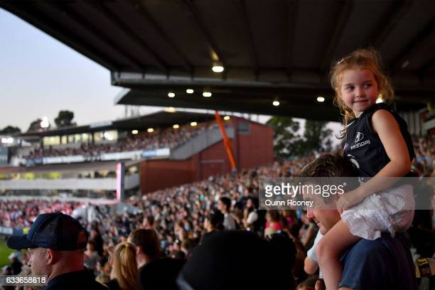 A big crowd watches on during the round one Women's AFL match between the Collingwood Magpies and the Carlton Blues at Ikon Park on February 3 2017...