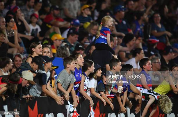 A big crowd watches on during the round two AFL Women's match between the Western Bulldogs and the Adelaide Crows at Whitten Oval on February 10 2017...
