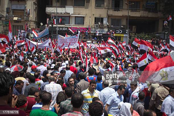 Big crowds of anti-Morsi protersters gather on Tahrir square on June 30th 2013, the day the Tamarod campaign had called as their final day of...