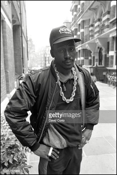 Big Daddy Kane portrait outside WEA Records at Kensington Court London United Kingdom on 9 May 1988