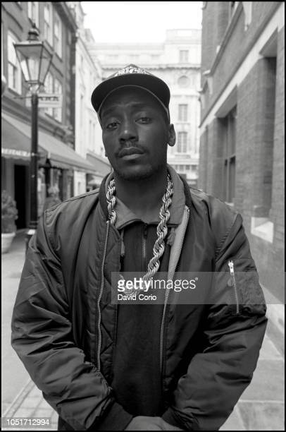 Big Daddy Kane, portrait, outside WEA Records at Kensington Court, London, United Kingdom, on 9 May 1988.