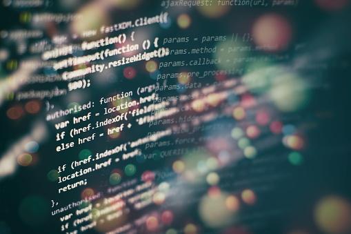 Big data storage and cloud computing representation. Programming code . 1142539858