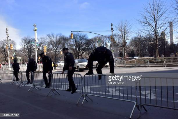 A big display of police department in the Women's march 2018 on January 20 2018 in New York city Big crowds were seen at rallies around the country...