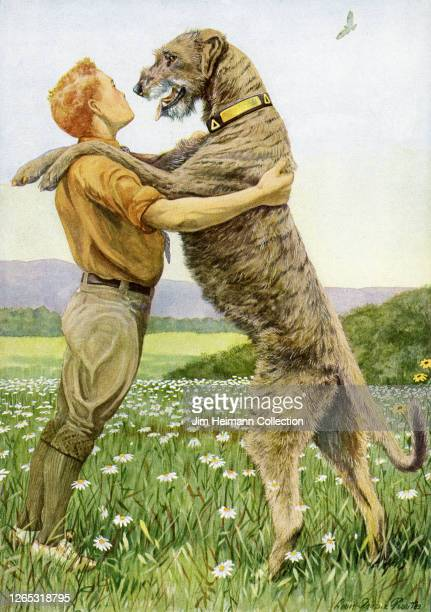 Big dog stands on its hind legs to embrace a boy in a field of daisies, circa 1929.
