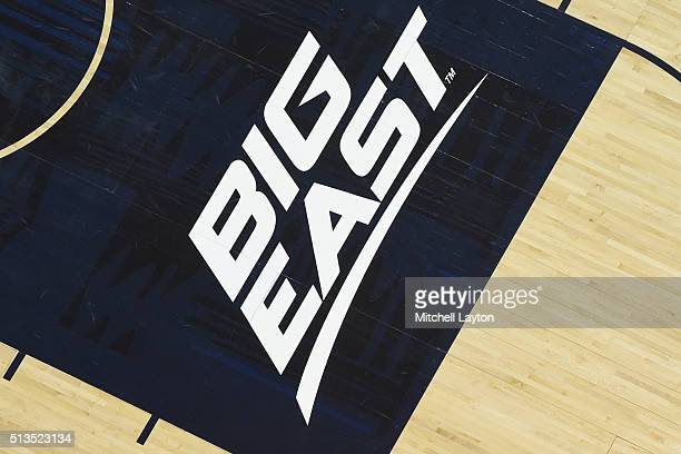Big East Conference logo on the floor during a college basketball game between the Georgetown Hoyas and the Xavier Musketeers at the Verizon Center...