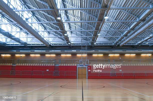 大きな空のスポーツホールにメタルの屋根
