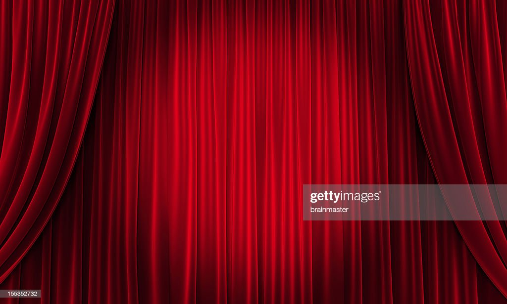 Big event red curtains with spotlight : Stock Photo