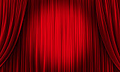 Big event red curtains with spotlight