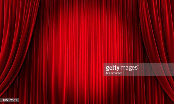 big event red curtains with spotlight - rood stockfoto's en -beelden