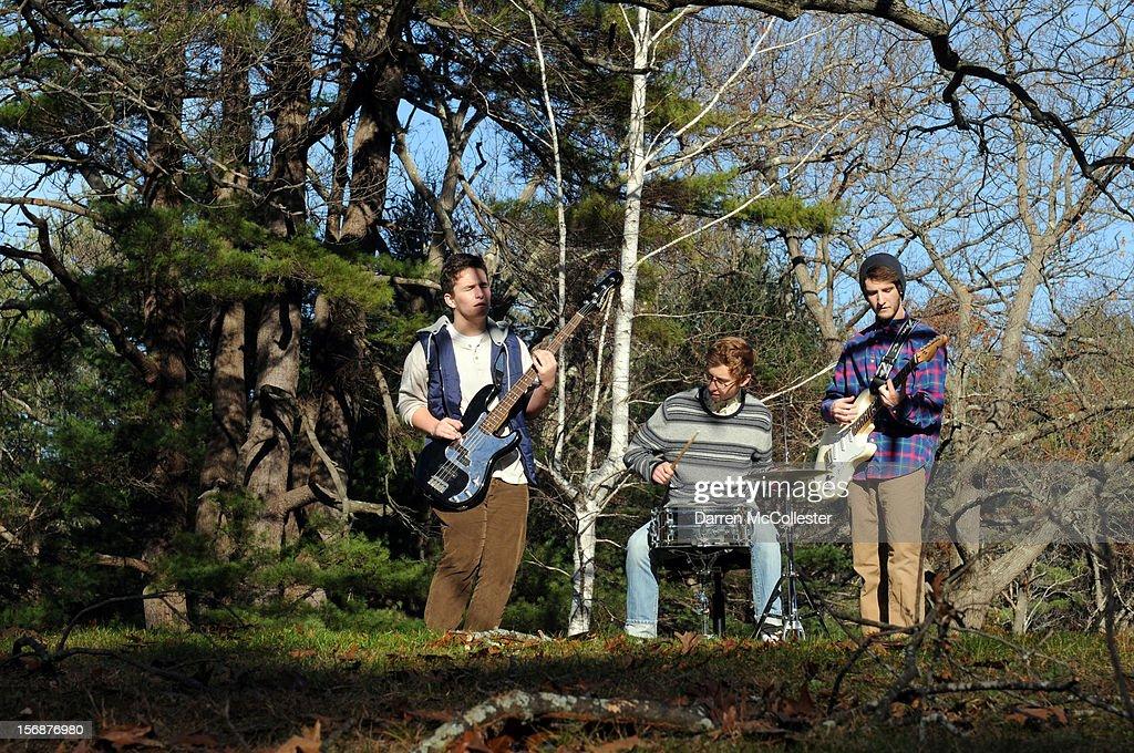 Big Fair, Daniel Alvarez De Toledo, Clayton Vye, and Jordan Dunn-Pilz during their photo shoot at Maudsley State Park on November 23, 2012 in Newburyport, Massachusetts.