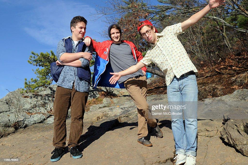Big Fair, Daniel Alvarez De Toledo, Jordan Dunn-Pilz, and Clayton Vye during their photo shoot at Maudsley State Park on November 23, 2012 in Newburyport, Massachusetts.