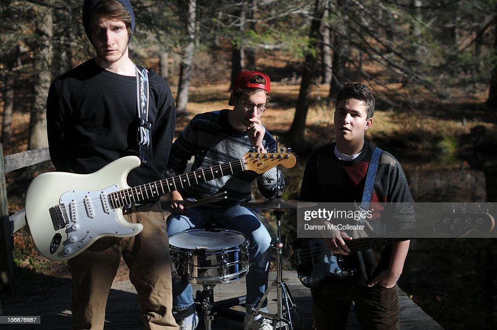 Big Fair, Jordan Dunn-Pilz, Clayton Vye, and Daniel Alvarez De Toledo during their photo shoot at Maudsley State Park on November 23, 2012 in Newburyport, Massachusetts.