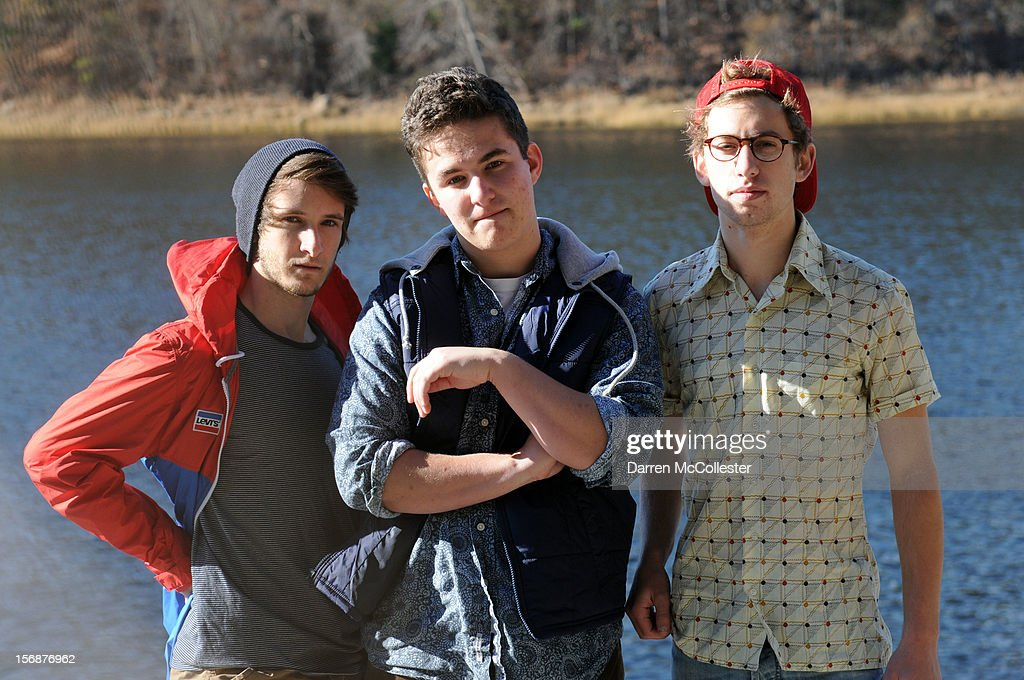 Big Fair, Jordan Dunn-Pilz, Daniel Alvarez De Toledo, and Clayton Vye during their photo shoot at Maudsley State Park on November 23, 2012 in Newburyport, Massachusetts.