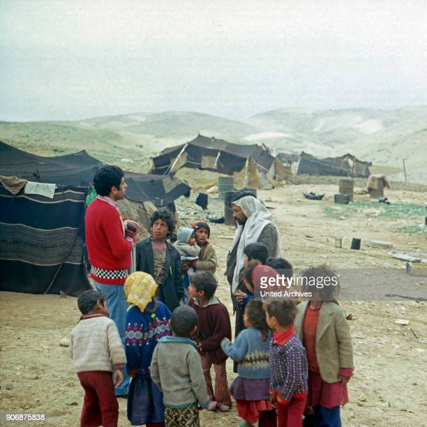 Big family at bedouin camp at Israel late 1970s