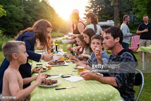 """gran barbacoa familiar en puesta del sol de verano al aire libre. - """"martine doucet"""" or martinedoucet fotografías e imágenes de stock"""