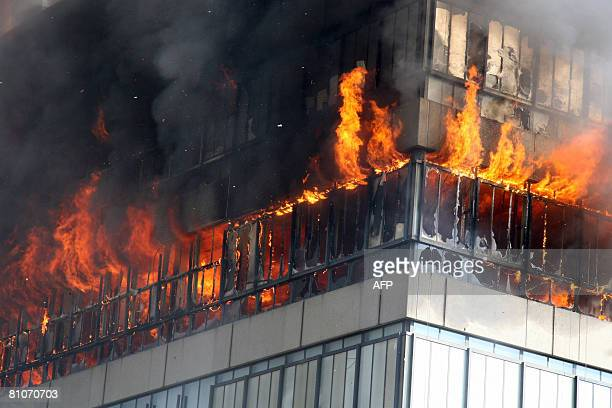 A big fire rages in a building of the technical university in Delft Netherlands on May 13 2008 The building that was largely destroyed in the fire...
