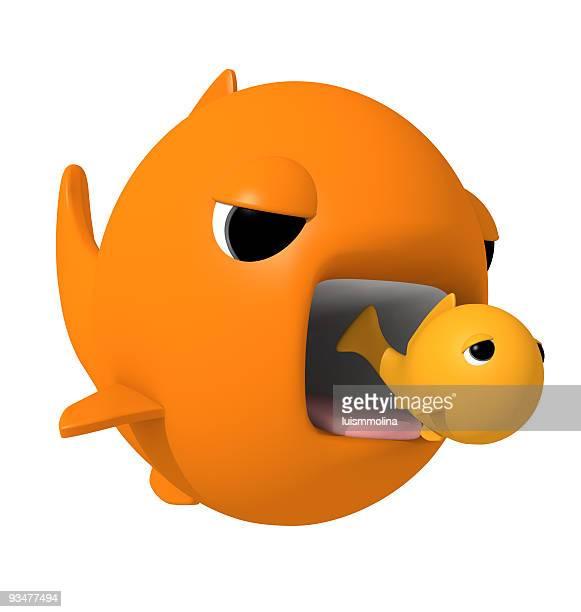 Big fish eating smaller one in cartoon