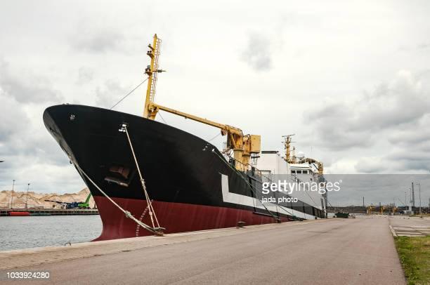 big fish trawler on the quay - 産業用船舶 ストックフォトと画像