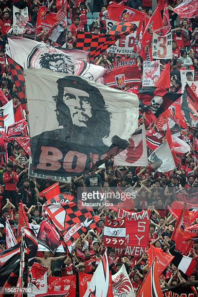 Big flag of Che Guevara is waved by Urawa Red Diamonds supporters prior to the JLeague match between Urawa Red Diamonds and Sanfrecce Hiroshima at...