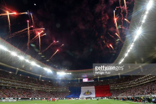 Big flag of Chivas is displayed prior the second leg match of the final between Chivas and Toronto FC as part of CONCACAF Champions League 2018 at...