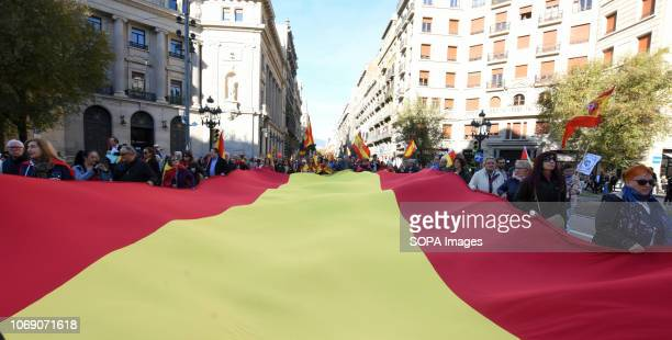 A big flag of Spain seen during the event Two thousand people celebrated the 40th Anniversary of the Spanish Constitution in Barcelona