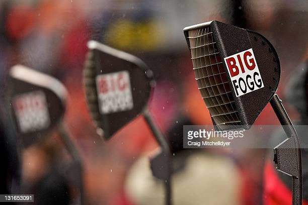 Big Fogg heaters are seen on the sideline during a game between the Oregon State Beavers and the Stanford Cardinal on November 5, 2011 at Reser...