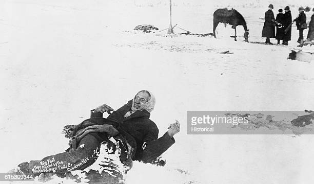Big Foot leader of the Sioux captured at the battle of Wounded Knee South Dakota Here he lies frozen on the snowcovered battlefied where he died 1890