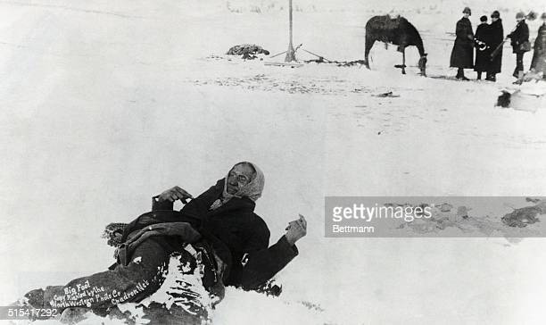 Big Foot the leader of the Sioux tribe lies frozen on the battlefield of Wounded Knee South Dakota