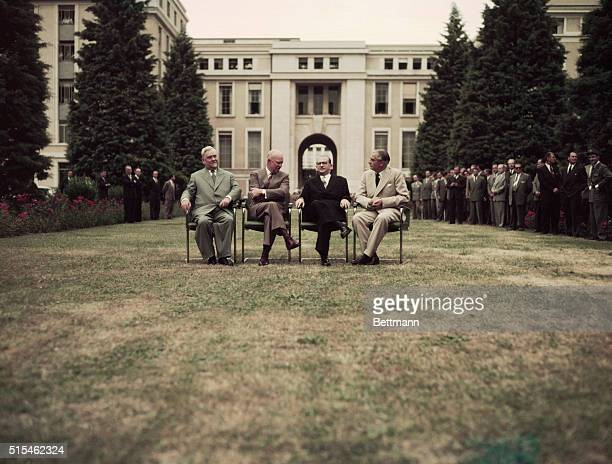 Big Four Conference Left to right Nikolai Bulganin Soviet Union Premier Dwight Eisenhower US President Edgar Faure French Premier and Sir Anthony...