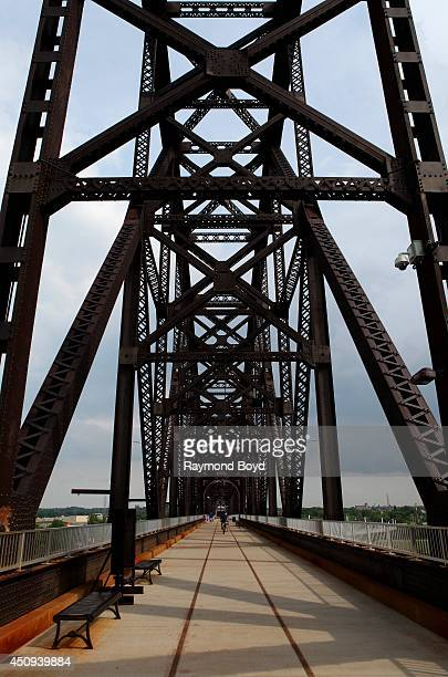 Big Four Railroad Bridge Pedestrian and Bicycle Path on May 30 2014 in Louisville Kentucky