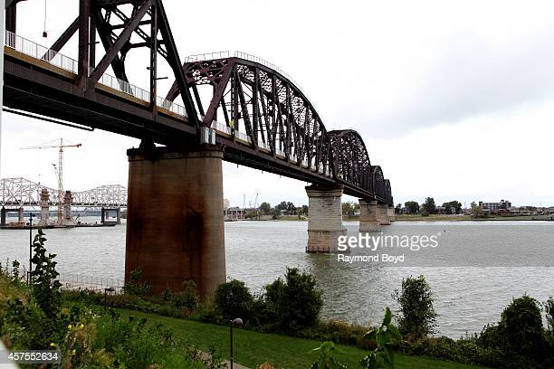 Big Four Railroad Bridge Pedestrian and Bicycle Path on October 03 2014 in Louisville Kentucky