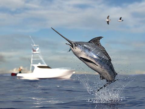 Big game fishing time, big swordfish marlin  jumped hooked by sport fishing angler, fishing boat 3d render 1066712134