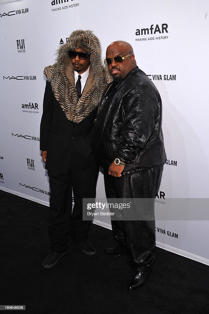 Big Gipp (L) and Cee Lo Green attend the amfAR New York Gala to kick off Fall 2013 Fashion Week at Cipriani Wall Street on February 6, 2013 in New York City.