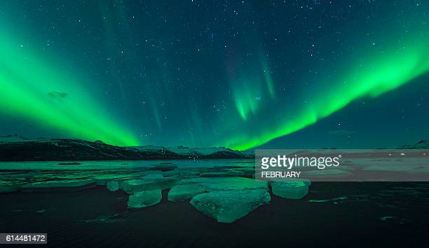 Big glacier and aurora in Iceland
